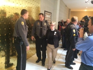 Arrested for an act of civil disobedience at the NC General Assembly.